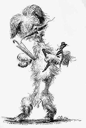 Cham porté par son chien à Bade, Jean-Pierre Dantan, 1866.